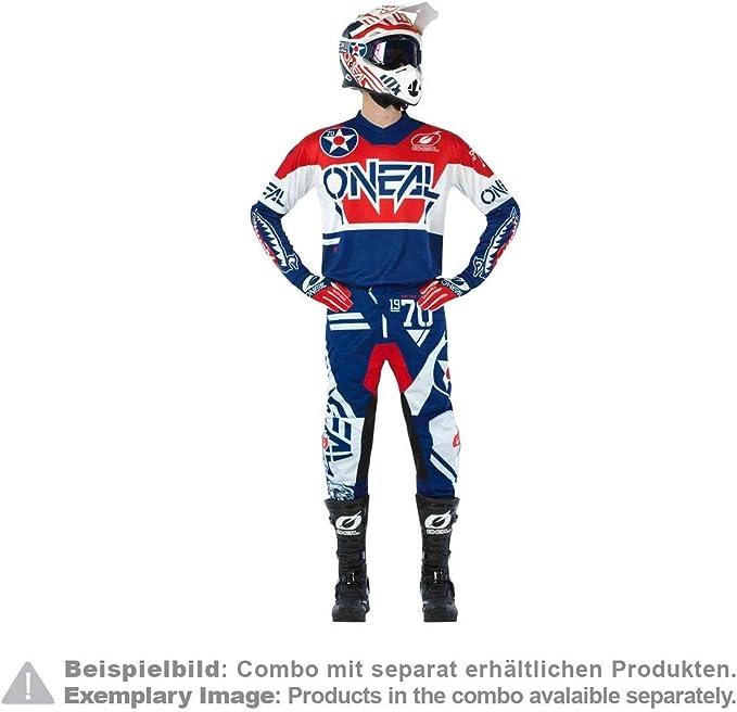 O Neal Motocross Trikot Enduro Motorrad Passform Für Bewegungsfreiheit Gepolsterter Ellbogenschutz Atmungsaktives Material Jersey Element Warhawk Erwachsene Blau Rot Größe L Bekleidung