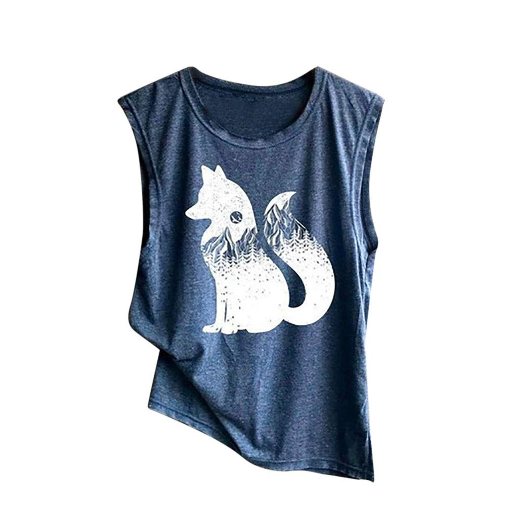 Feitengtd Women's Print Vest Casual Loose Top Soft Comfy Sleeveless Tank Top Sport Pullover Tunic Top (Navy, S)