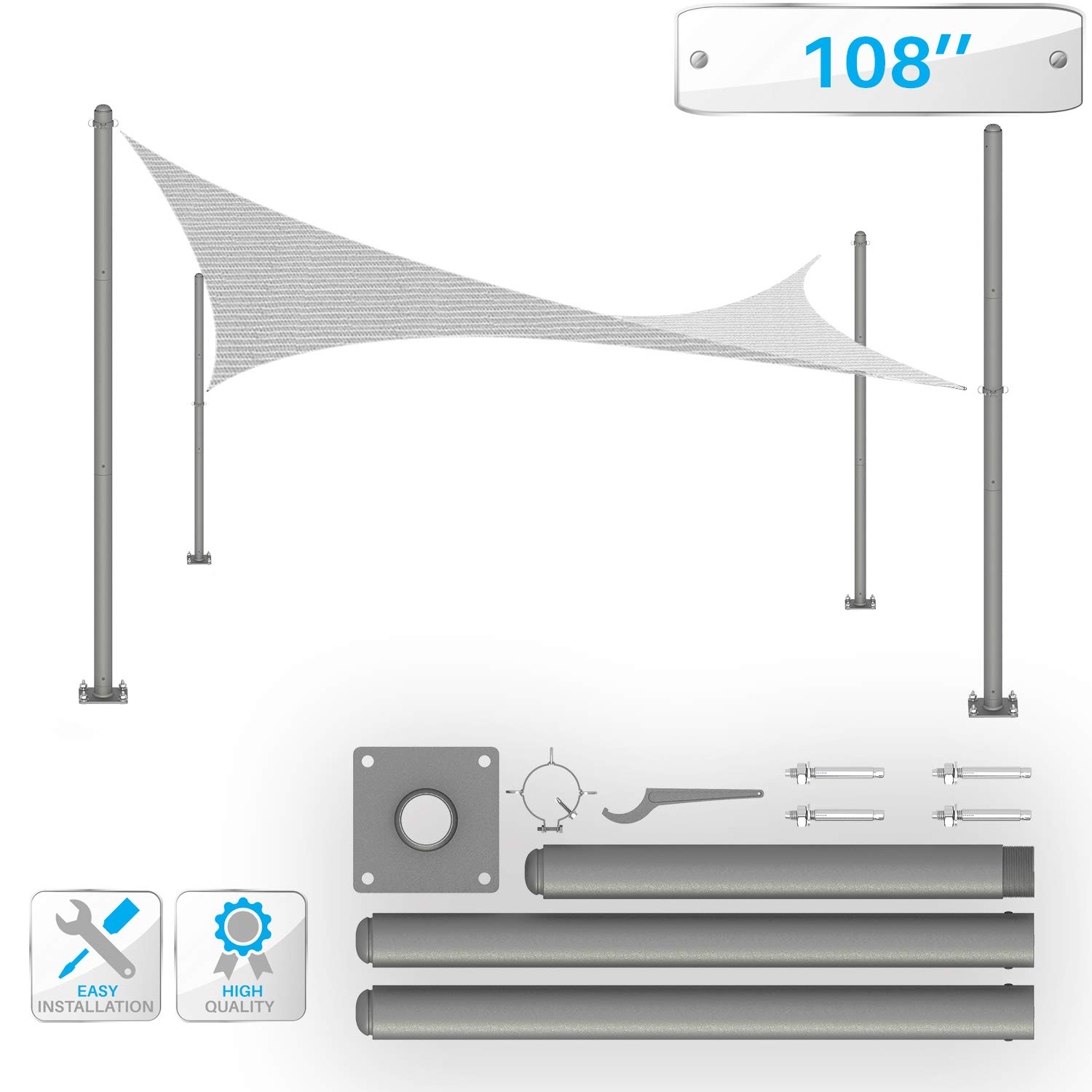 PATIO Sun Shade Sail Pole 9' Feet Tall (108'') Stand Post -Heavy-Duty Awning, Knitted Shade Sail Stand Post - Canopy Support Poles,Strengthen Durable Versatile Replacement Poles, Steel/Gray