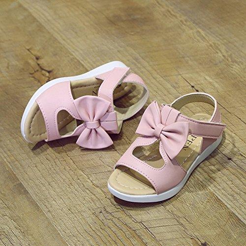 Vokamara Mädchen Sommer Schuhe Bogen Offene Sandalen Pink