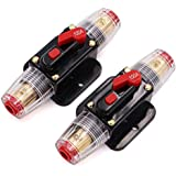 2 Pack Inline 100A Circuit Breaker with Manual Reset Fuse Holder 100 amp for Car Audio Marine Boat Stereo Switch…