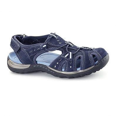 051bb23df03e1a Earth Spirit TEXAS Ladies Leather Sports Sandals Blue UK 6  Amazon ...