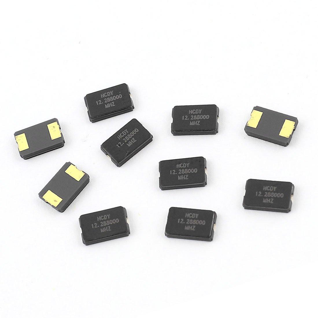 Aexit 10 Pcs Passive Components 12.288MHz SMD Passive Crystal Quartz Oscillator 5mm Crystals x 3.2mm