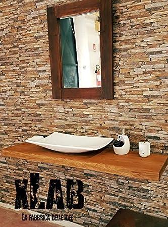 Mensola rustica in legno massello per appoggio lavabo da bagno ...
