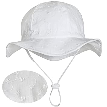 Amazon.com  Eyelet Toddler Sun Hat 50+ UPF Cotton Size Adjustable + ... 7f9a9a1f4c0