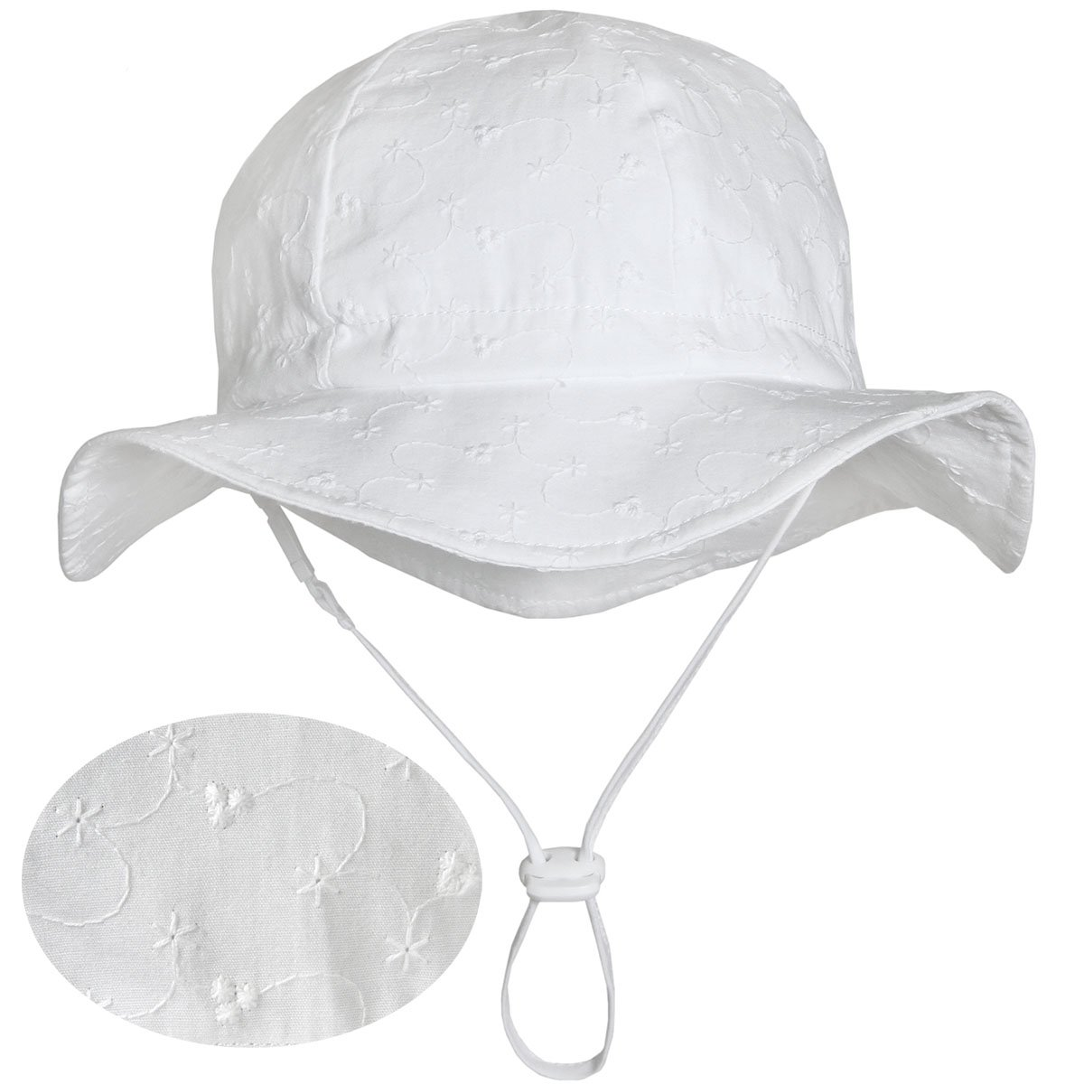 Kids White Summer Sunhat 50 UPF, Adjustable Foldable, Stay-on Chin Strap (L: 2-12Y, Floppy Hat: Tiny Floret)