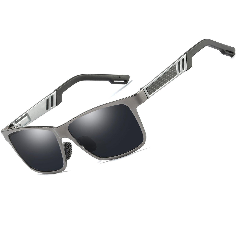 b0d905987b Men s Sunglasses Polarized Metal Rectangular Frame 100% uv Protection  Square (Gun Grey)