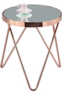 Bo living oakland circular coffee table metal rose gold amazon aspect puccini mirroredglass round sidecoffeeendlamp table metal greentooth Images
