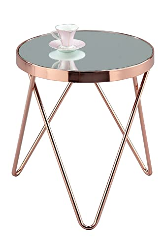 Aspect Fino Mirrored Glass Round Coffee Table Metal
