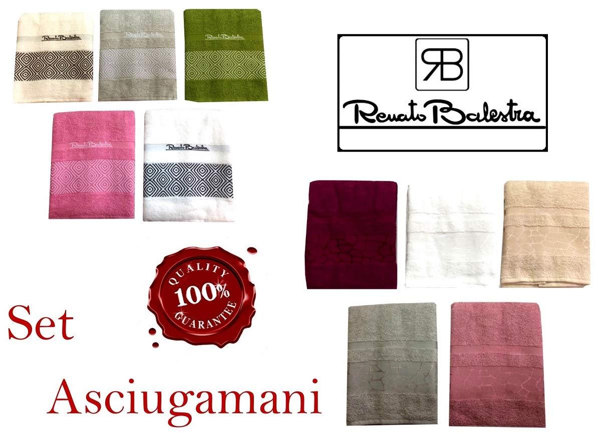 Menitashop Renato Balestra Set Asciugamani Bagno 1+1 Spugna Viso+OSPITE 100/% Cotone 10 PZ Set Asia 101