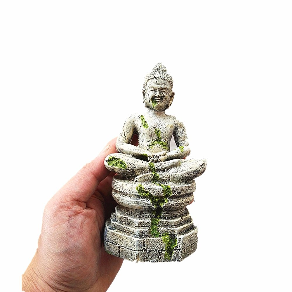leoyoubei Aquarium shape beautification decoration, fish turtle hidden, bonsai beautification. Shrimps & Snails Love Them,Polyresin Statues Ancient Buddha 6.5'' H