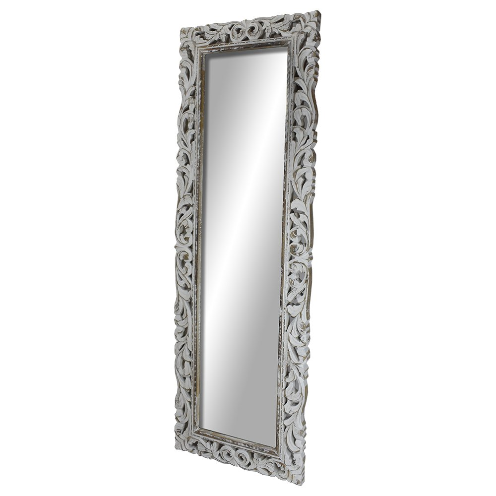 Indian Heritage Wooden Mirror 20x60 in Mango Wood Carved Design with White Distress Finish