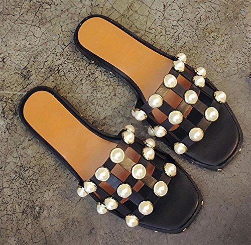 La Sra verano sandalias y zapatillas de punta abierta sandalias planas y zapatillas sandalias palabra arrastrar al aire libre de la perla de las mujeres ahuecan Black