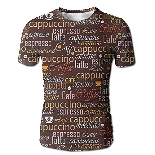 Edgar John Cafe Typography Art Stylized Coffee Culture Words Cappuccino Latte Men's Short Sleeve Tshirt XXL