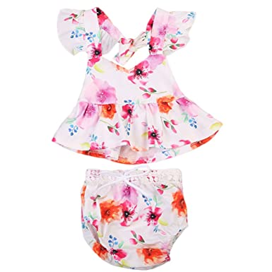 Amazon.com: Infant Baby Toddler Girls Floral Ruffle Crop Top With Short Clothing Set: Clothing