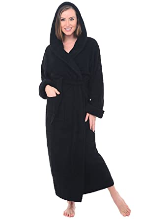 del rossa womens turkish terry cloth robe long cotton hooded bathrobe small medium black - Terry Cloth Robe