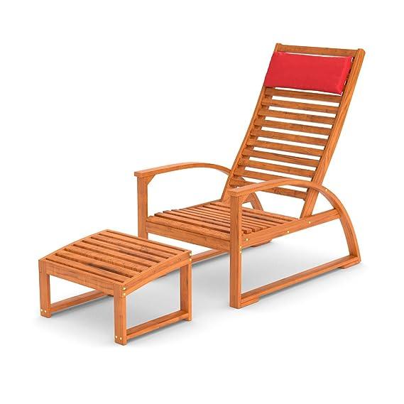 Bequemer Gartenstuhl mit Armlehne & verstellbarer Rückenlehne | Holz ...