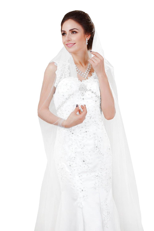 Yean Braut Haarschleier Bodenlangen Schleier Hochzeit Kathedrale Zubehör für Frauen (Elfenbein)