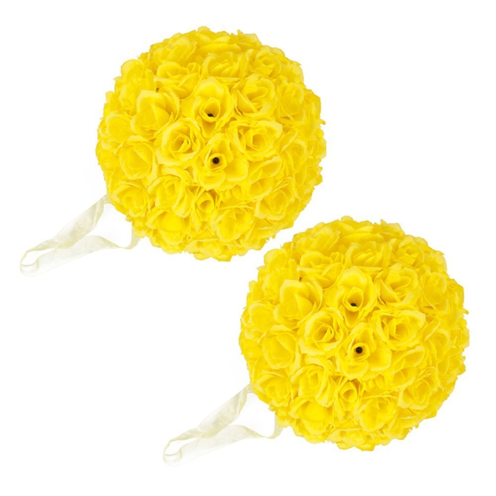 2PCS 10 Inch Elegant Satin Rose Flower Ball for Wedding Party Ceremony Decoration Party Event (2PCS, Yellow)