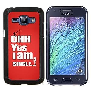 TECHCASE---Cubierta de la caja de protección para la piel dura ** Samsung Galaxy J1 J100 ** --Divertido Estoy Soltero