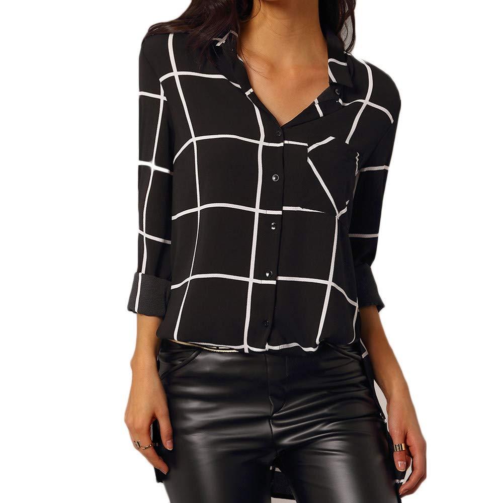 Longue Chemise Femme T-Shirt à Carreaux à Boutons Manches Longues Fluide Blouse Casual Chic Classique Top