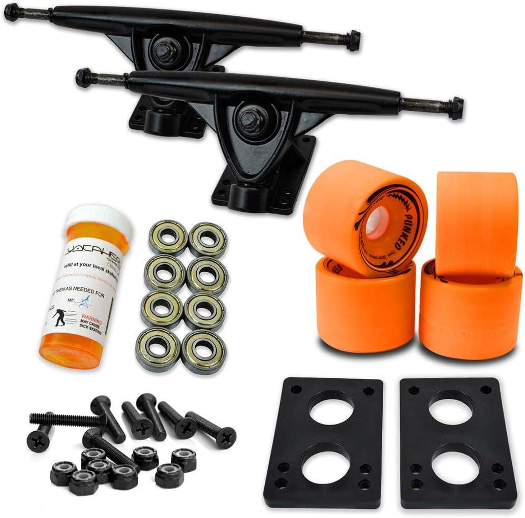 Top-Combo-Set-Yocaher-Longboard-Skateboard-Trucks-Combo-Set-W71mm-Wheels--9675-Polished-Black-Trucks-Package