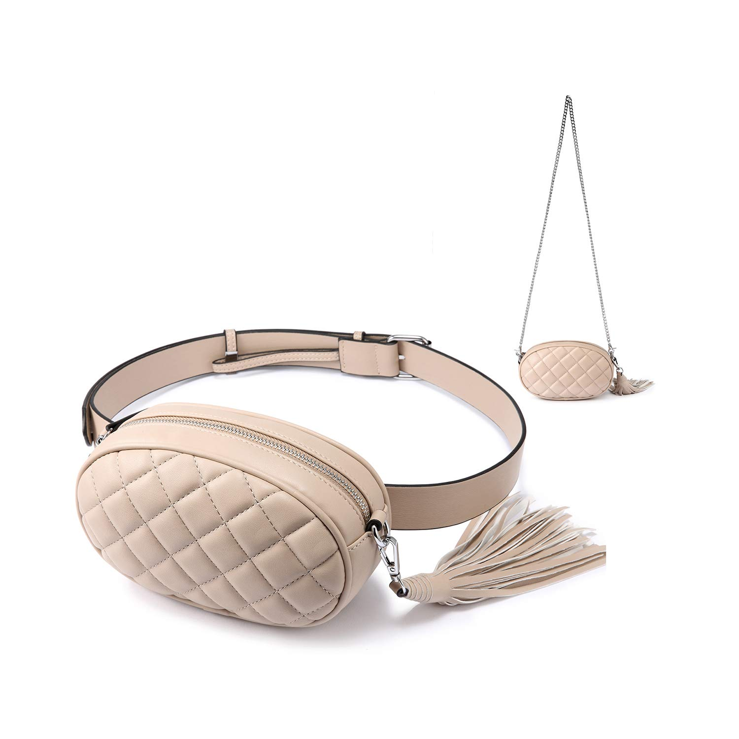 ea84e90b8187 Amazon.com  Fanny Pack for women Waist Bag Chest Packs Stylish Quilted Belt  Bum Bags Cell Phone Hiking Purses Beige  Shoes