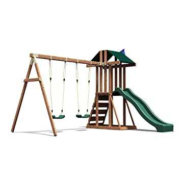 Climbing Frame Garden Swing Set With Wave Slide And Platform Juniorfort Tower
