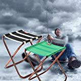 Ruier-hui Small Folding Stool Portable—Mini Step Slacker Stool Camping Folding Chairs Outdoor—Perfect for Fishing Camp Traveling Hiking Beach Garden BBQ (Green stripes)
