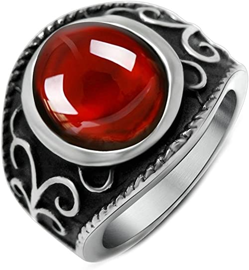 Gnzoe Fashion Jewelry Stainless Steel Ring Unisexs Ring Wings Ruby Red