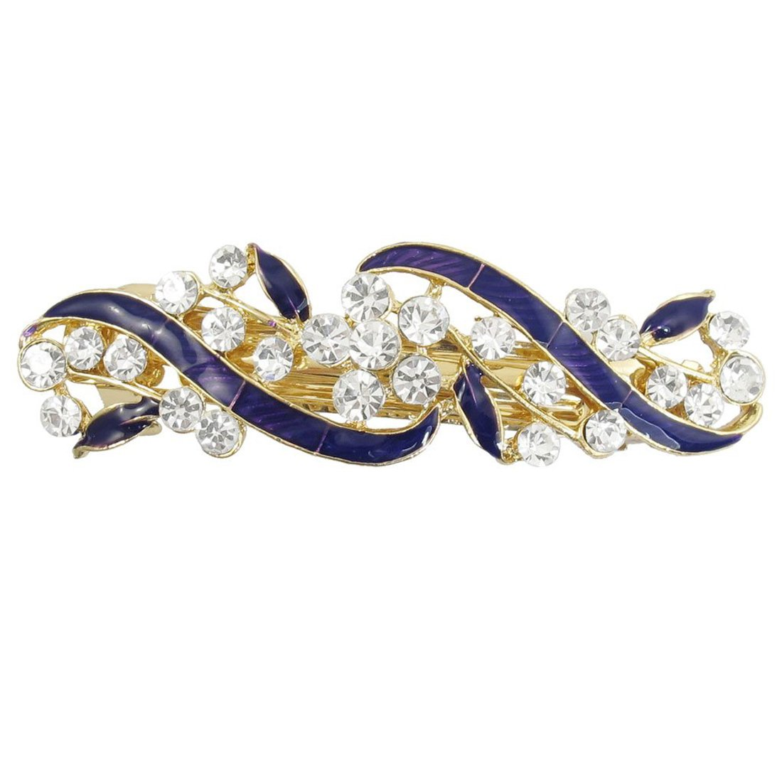 Gold Tone French Clip Faux Crystal Inlaid Purple Hairclip Barrette 9611