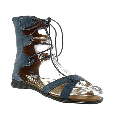 Angkorly Damen Schuhe Sandalen - Sexy - Bestickt - Multi-Zaum Blockabsatz 2 cm