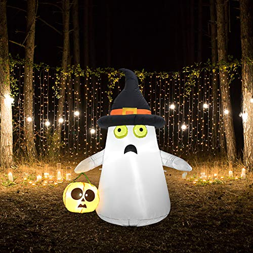 SUPERJARE 4 Ft Halloween Inflatable Ghost & Pumpkin, Blow up Decoration with LED Light, Ghost with Witch Hat, Indoor & Outdoor, Yard & Lawn Decor
