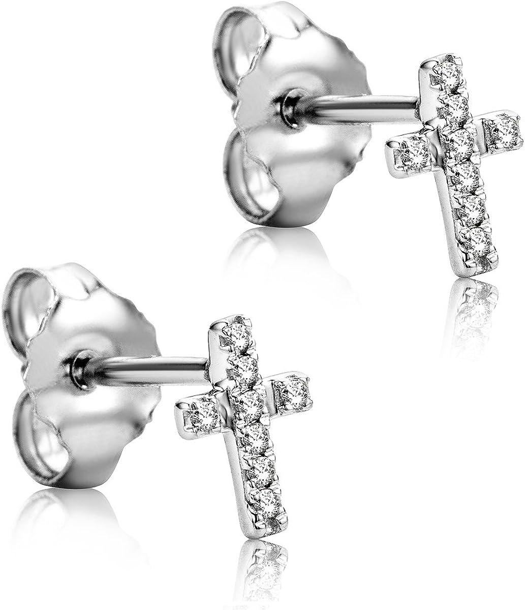 Orovi Pendientes Señora Cruz presión en Oro Blanco con Diamantes Talla Brillante Oro 9 Kt / 375