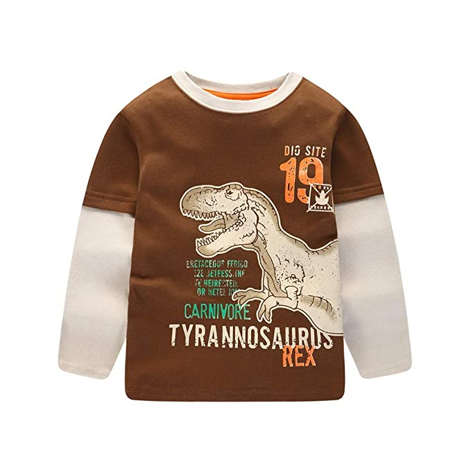 8c5467337 WPdragon Dinosaur Shirt, Toddler Girl Boy Fall Winter Clothes Sweatshirt  1-4 Year Old
