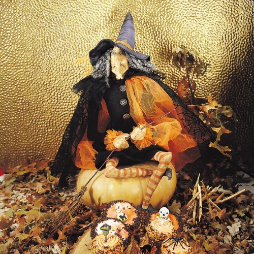 Joe Spencer Gathered Traditions Gerty Fabric Witch Figure Halloween Decoration]()