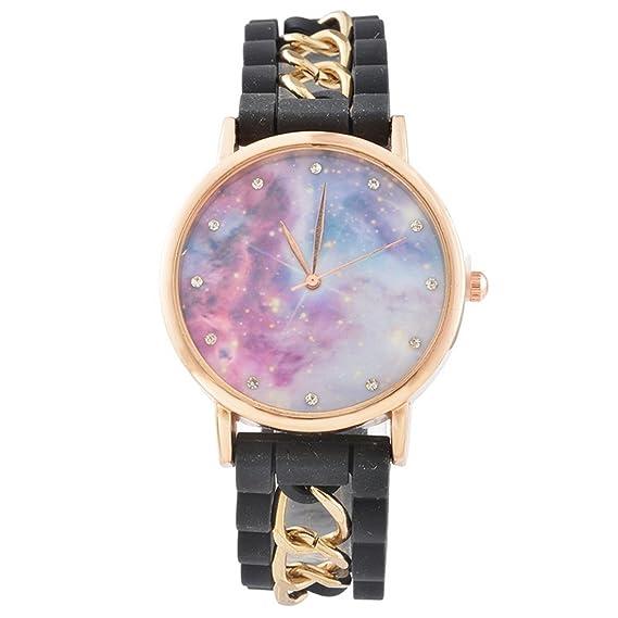 8b17ed72df4e15 MJARTORIA Damen Galaxy Motiv Armbanduhr Elegant Silikonarmband mit Strass  Damenuhr Analog Quarz Uhr Schwarz
