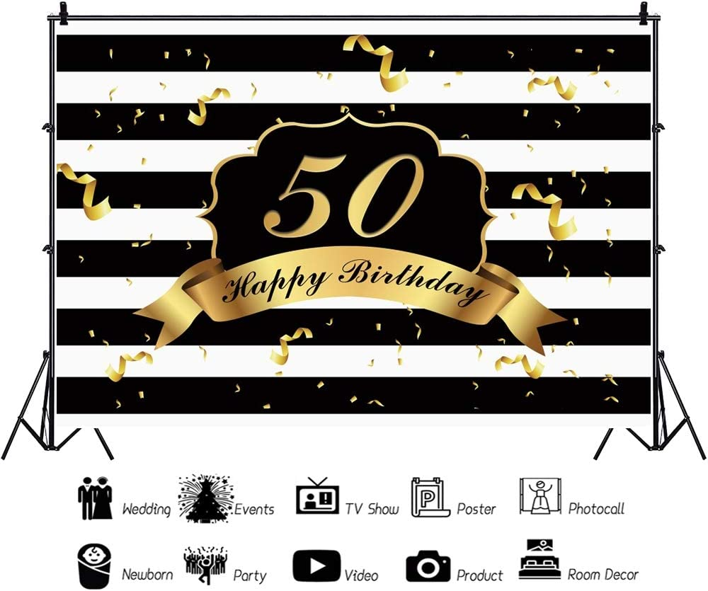Haoyiyi 10x8ft Birthday Backdrops for Party 50th 50 Background Gold Golden Confetti White and Black Stripes Bling Bling Photography Newborn Party Baby Shower Photo Booth Studio Props Decor