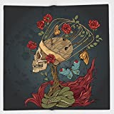 Cotton Microfiber Hand Towel,Skull,Evil Mexican Sugar Skeleton with Kitsch Bush of Roses Snake and Butterfly Artwork,Ruby Dark Grey,for Kids, Teens, and Adults,One Side Printing