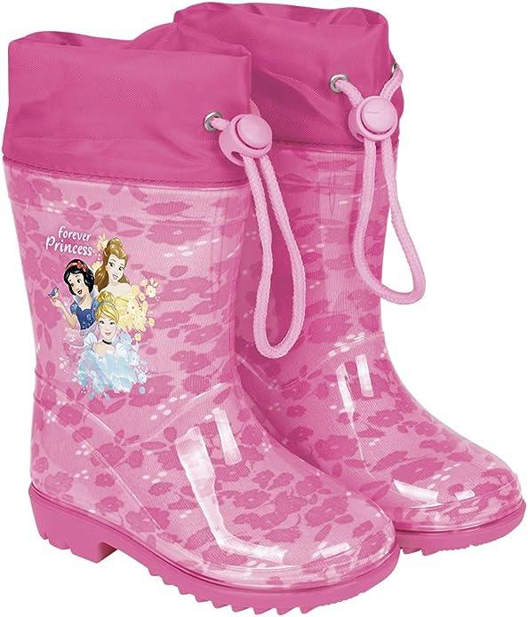 Botas de Agua para Niñas Princesas Disney- Botines Impermeables Cenicienta Rapunzel Blancanieves con Suela Antideslizante y Cierre con Cordón para Niña - Rosa - 5 Tallas Diferentes - Perletti (28/29): Amazon.es: Zapatos y complementos