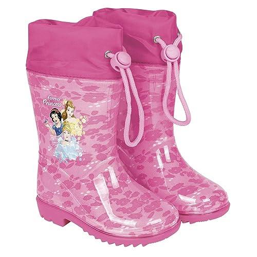 PERLETTI Botas de Agua Disney Princesas para Niñas - Botines Impermeables Infantiles Cenicienta Rapunzel Blancanieves con Suela Antideslizante y ...