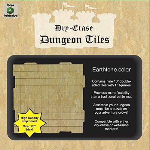 Role 4 Initiative Dry Erase Dungeon Tiles, Earthtone, Set of Nine 10'' interlocking squares for role-playing and miniature tabletop games by Role 4 Initiative