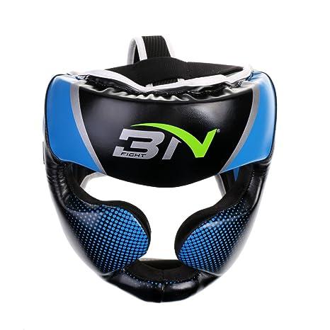 Baosity Detachable Bar Headgear Boxing Helmet Martial Arts Gear MMA Protector - Blue