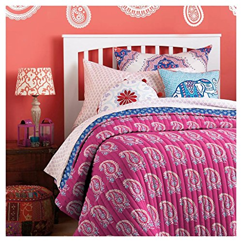 John Robshaw - Jasmine Quilt Twin Extra Long And Toss Pillow - Pink