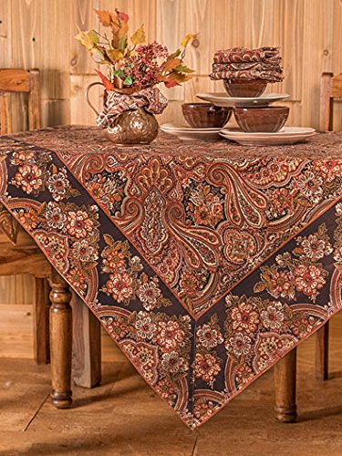 April Cornell Brown Kashmere Paisley Print 54 Inch Square 100% Cotton Tablecloth - Seats 4