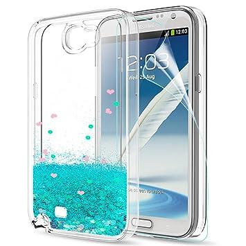 LeYi Funda Samsung Galaxy Note 2 Silicona Purpurina Carcasa con HD Protectores de Pantalla,Transparente Cristal Bumper Telefono Gel TPU Fundas Case ...