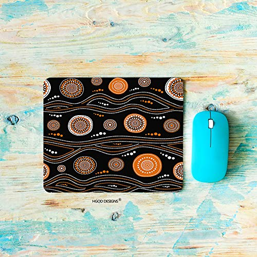 - HGOD DESIGNS Gaming Mouse Pad Aboriginal,Australian aboriginalpattern with Orange Dotted Circles Mousepad Rectangle Non-Slip Rubber Mouse Pads(7.9
