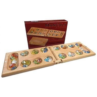 Melissa Wood Folding Mancala Board Game, 17.5 Inch Set