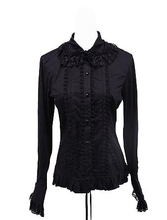 253d7a1286f676 Antaina Schwarz Baumwolle Rüsche Spitze Jahrgang Gothic Lolita Beiläufig Hemd  Bluse, XS,MEHRWEG