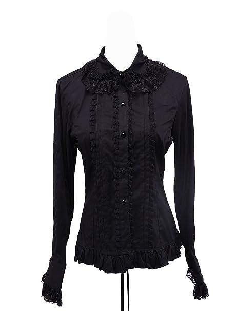 an*tai*na* antaina Negra Algodón Volantes Encaje Vintage Gotica Lolita Casual Camisa